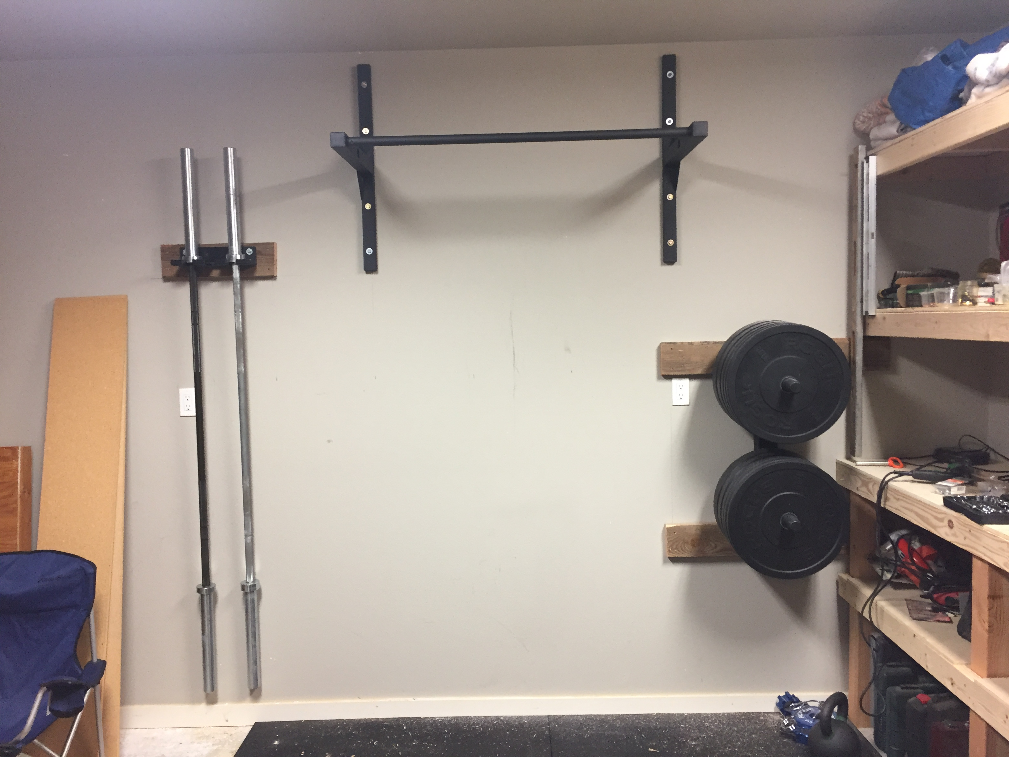 Diy garage gym pull up bar stud bar ceiling or wall mounted pull